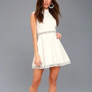 Lulus reach out my hand white lace skater dress